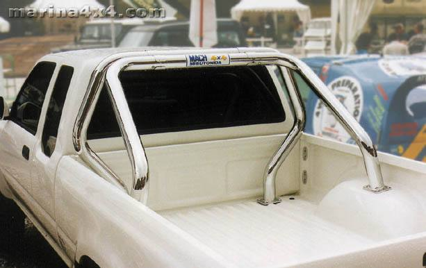 ROLL BAR INOX DOUBLE TUBES Ø 76 NISSAN KING CAB 98/05 SIMPLE CAB